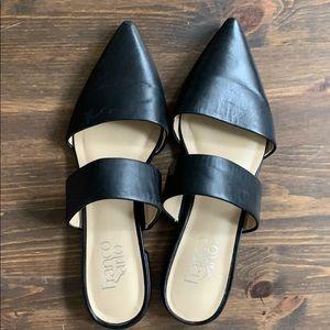 Franco Sarto Black Pointy Closed Toe Flats Sandals